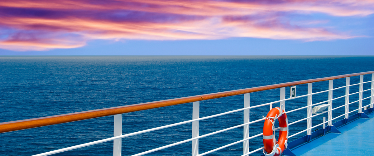 Photo aboard cruise ship nearing sunset